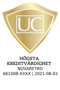 Sigillet är utfärdat av UC AB. Klicka på bilden för information om UC:s Riskklasser.